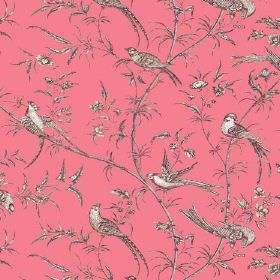 Nouvelle Toile (Cotton) - 1 - Grey and white birds with long branches and small leaves printed on a pink cotton fabric background