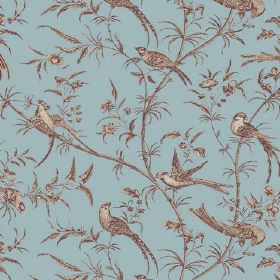 Nouvelle Toile (Linen Union) - 2 - Brown and cream coloured birds printed with branches and leaves on blue linen fabric