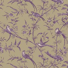 Nouvelle Toile (Linen Union) - 3 - Purple and white birds, branches and leaves covering linen fabric in an unusual green-grey colour