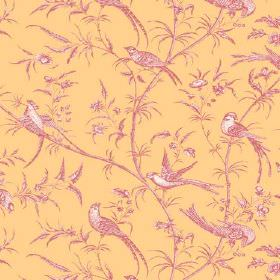 Nouvelle Toile (Cotton) - 4 - A pink and white bird, branch and leaf pattern on cotton fabric in a golden yellow colour