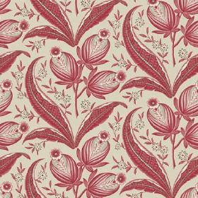 Rilly (Linen Union) - 4 - Stone coloured linen fabric as background for dusky red coloured leaves, buds and flowers as a pattern