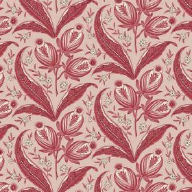 Rilly (Cotton) - 5 - Very pale dusky red-pink coloured cotton fabric printed with dusky red and white leaves, flowers and buds