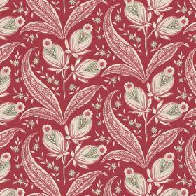 Rilly (Linen Union) - 6 - Deep red linen fabric printed with a pattern of dusky red, cream and light green flowers, leaves and buds