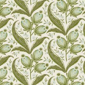 Rilly (Linen Union) - 7 - Linen fabric in off-white, with a repeated pattern in shades of green of large leaves, buds and flowers