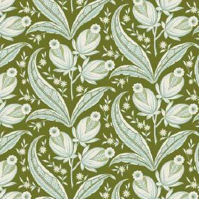 Rilly (Cotton) - 8 - Forest green coloured fabric made from cotton, with a repeated pattern of white and duck egg blue leaves, buds and flower