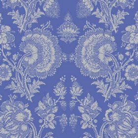 Isabel (Linen Union) - 1 - Light grey-white florals which are very detailed printed repeatedly over linen fabric in bright blue