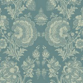 Isabel (Linen Union) - 4 - Lace effect florals in cream, repeatedly printed over dusky blue coloured linen fabric