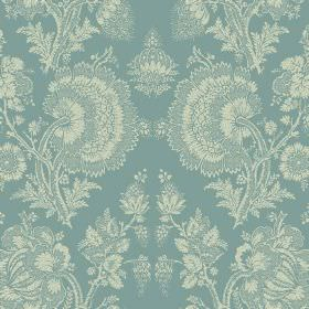 Isabel (Linen Union) - 5 - Linen fabric with a large, floral, lace effect pattern in vintage cream and dusky blue shades