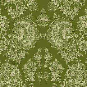 Isabel (Linen Union) - 6 - Forest green coloured linen fabric with a lace effect pattern of cream coloured flowers