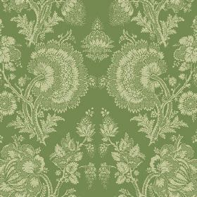 Isabel (Cotton) - 7 - Mid green fabric made from cotton patterned with large cream florals which are very detailed and busy
