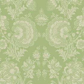 Isabel (Linen Union) - 8 - A detailed floral pattern in cream against a background of light green coloured linen
