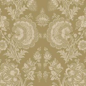 Isabel (Linen Union) - 10 - Linen fabric in olive green with a large, detailed lace effect floral pattern in cream