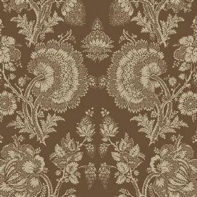 Isabel (Cotton) - 11 - Large, detailed floral patterns in cream printed on a brown cotton fabric background