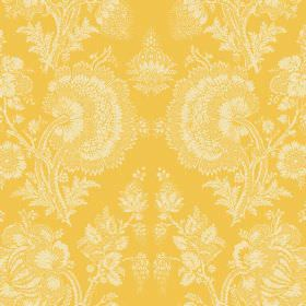 Isabel (Cotton) - 12 - Bright yellow cotton fabric printed with a large, repeated pattern of detailed florals in a subtle cream colour