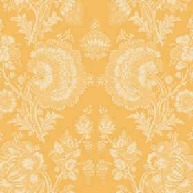 Isabel (Linen Union) - 13 - Cream coloured lace effect florals printed on a pumpkin coloured linen fabric background