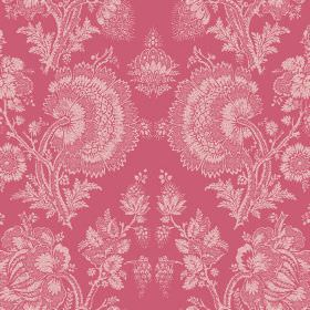 Isabel (Linen Union) - 15 - Fabric made from linen in rose pink, featuring a large, detailed pattern printed on top which looks like lace