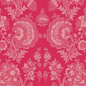 Isabel (Linen Union) - 19 - Bright pink linen fabric printed with large white lace effect florals