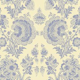 Isabel Reverse (Linen Union) - 1 - Lace effect florals in a denim blue colour, over a background of cream coloured fabric made from linen