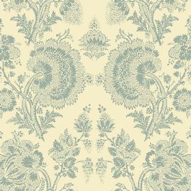 Isabel Reverse (Linen Union) - 4 - Linen fabric in cream, patterned with a large floral pattern in dusky blue, which has a lace effect finis