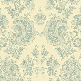 Isabel Reverse (Linen Union) - 5 - Light dusky blue coloured florals with a lace effect printed on cream coloured linen fabric