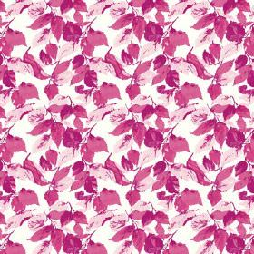 Nina (Cotton) - 1 - Leaves in bright and light shades of pink scattered over white cotton fabric