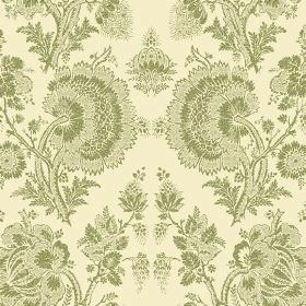 Isabel Reverse (Linen Union) - 6 - Large, floral patterns in an olive green coloured lace effect, against a cream coloured fabric background
