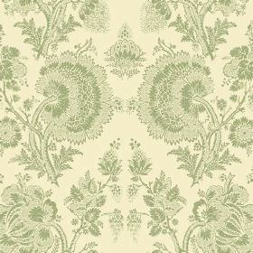 Isabel Reverse (Linen Union) - 7 - Cream coloured linen fabric, patterned with a repeated design of large, detailed, lace effect mid green f