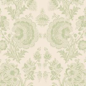 Isabel Reverse (Cotton) - 8 - Off-white cotton fabric printed with a repeated, detailed floral pattern in a light shade of green