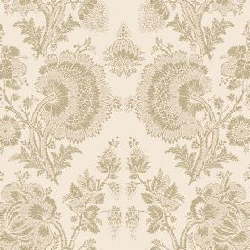 Isabel Reverse (Linen Union) - 10 - Fabric made from putty coloured linen, with a large lace effect design in a light caramel colour