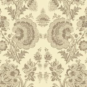 Isabel Reverse (Linen Union) - 11 - Linen fabric in light yellow, printed with brown lace effect floral patterns