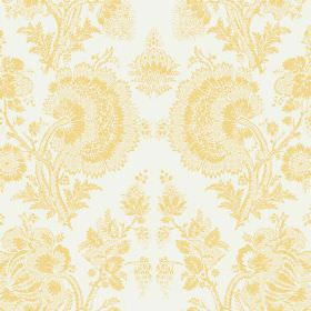 Isabel Reverse (Linen Union) - 12 - Linen fabric with a subtle detailed yellow floral pattern on a background of bright white