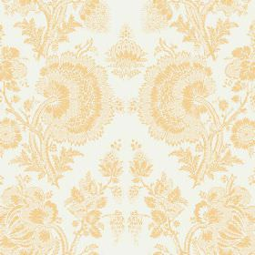 Isabel Reverse (Linen Union) - 13 - White linen fabric printed with a lace effect pattern which is large and golden yellow in colour
