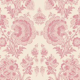 Isabel Reverse (Linen Union) - 15 - Dusky pink detailed lace effect floral patterns printed on fabric made from cream coloured linen