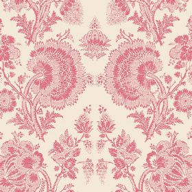 Isabel Reverse (Cotton) - 19 - Cream coloured cotton fabric printed with a large lace effect floral design in pink