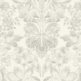 Florence (Cotton) - 1 - White cotton fabric with a large pattern in shades of grey, featuring some floral shapes