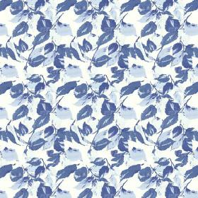 Nina (Cotton) - 2 - White cotton fabric scattered with a design of leaves in different shades of blue