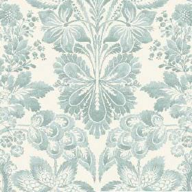 Florence (Linen Union) - 2 - Linen fabric in white, printed with large duck egg blue-teal florals and leaves