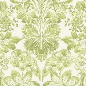 Florence (Linen Union) - 3 - Floral and leaf patterns in different bright shades of green on a background of white linen fabric