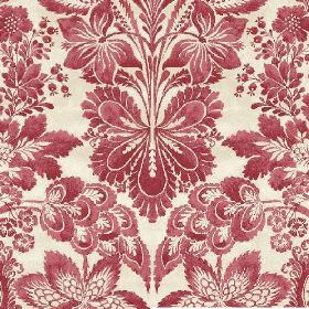 Florence (Linen Union) - 4 - A dusky red pattern of large leaves and florals printed on fabric made from off-white linen