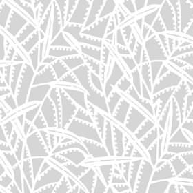 Theta (Cotton) - 1 - Light grey cotton fabric printed with a simple pattern of stylised white leaves