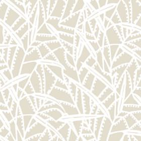 Theta (Cotton) - 2 - Long, stylised white leaves printed on a grey-beige background made from cotton fabric