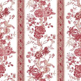 Volare Stripe (Linen Union) - 1 - Linen fabric in white, with vertical rows of flowers and patterned stripes in dusky red colours