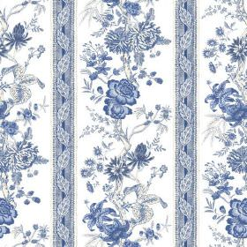 Volare Stripe (Cotton) - 2 - Rows of blue flowers and patterned blue stripes printed on white cotton fabric