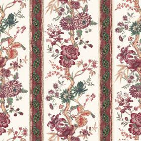 Volare Stripe (Linen Union) - 3 - Red-purple, dark green and orange flowers with matching patterned stripes printed on a white linen fabric