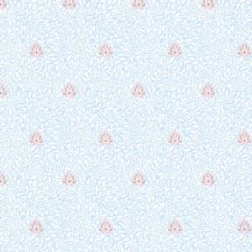 Evora (Linen Union) - 2 - Pink, white and light blue as the colours making up this small pattern printed on linen fabric
