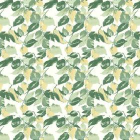 Nina (Linen Union) - 3 - Fabric made from white linen, featuring a leaf design in shades of green and light yellow