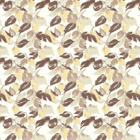 Nina (Linen Union) - 4 - Brown, beige and cream coloured leaves patterning white linen fabric