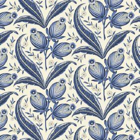 Rilly (Linen Union) - 1 - Different shades of dark blue making up the bud, flower and leaf pattern on this white linen fabric