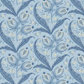 Rilly (Linen Union) - 2 - Repeated mid blue flowers, leaves and buds printed on linen fabric in light blue