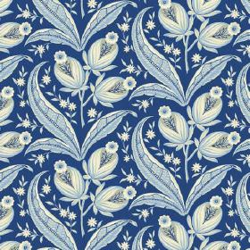 Rilly (Linen Union) - 3 - Navy blue coloured linen fabric, printed with a pattern of light blue and white flowers, leaves and buds